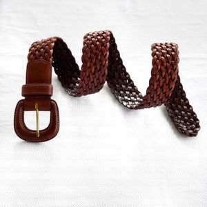 COACH • British Tan Leather Woven Belt